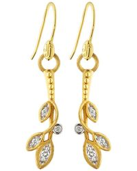 Jude Frances - 18k Sonoma Long Diamond Leaf Earrings - Lyst