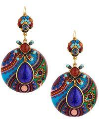 Jose & Maria Barrera Jasper & Crystal Paisley Decoupage Drop Earrings