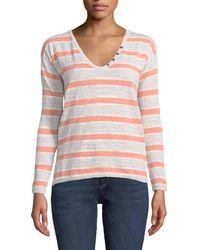 Minnie Rose - Lightweight Striped Henley Sweater - Lyst