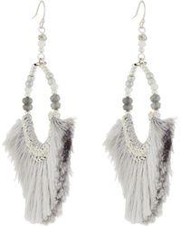 Nakamol - Gray Fringe & Semi-round Beaded Earrings - Lyst