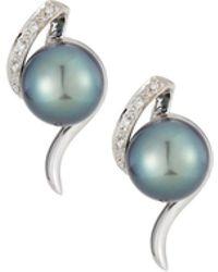 Belpearl - 14k Coiled Diamond & Pearl Earrings - Lyst