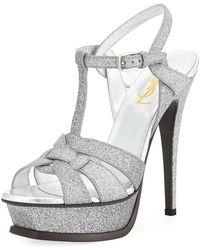Saint Laurent - Tribute Glitter 135mm Platform Sandal Silver - Lyst