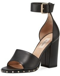 000b2146dad Valentino - Rockstud Leather Ankle-strap Sandals - Lyst