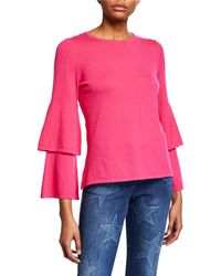 Sail To Sable - Tiered-sleeve Cotton-blend Sweater - Lyst