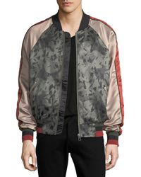 ELEVEN PARIS - Silk-printed Satin Bomber Jacket - Lyst
