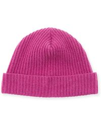 Neiman Marcus - Cashmere Ribbed Knit Beanie - Lyst