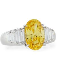 Fantasia by Deserio - Oval Cz Cocktail Ring W/ Stepped Baguettes Yellow - Lyst