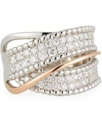 Neiman Marcus - 14k Two-tone Twisted Gold Diamond Ring - Lyst