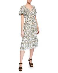 Max Studio - Empire Floral Print Tiered Ruffle Midi Dress - Lyst
