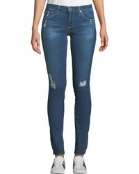 AG Jeans - Rev Super-skinny Distressed Crop Jeans - Lyst