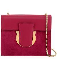 Bloomingdale s · Ferragamo - Leather suede Flap Chain Shoulder Bag - Lyst 3248c2b8cac72