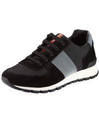Prada - Men's Suede & Leather Trainer Sneakers - Lyst
