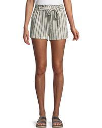 Sanctuary - Striped Linen Tie-waist Paperbag Shorts - Lyst