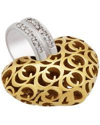 Chimento - 18k Two-tone Gold Logo Heart Pendant - Lyst