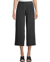 Max Studio - Striped Wide-leg Cropped Pants - Lyst