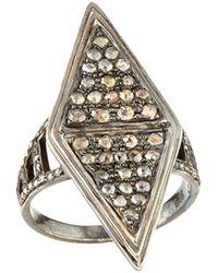 Bavna - Moonstone & Diamond Kite Ring - Lyst