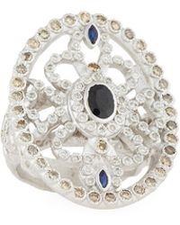 Armenta - New World Sapphire Oval Shield Ring W/ Diamonds - Lyst