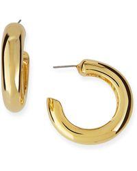 Kenneth Jay Lane - Polished Golden Hoop Pierced Earrings - Lyst