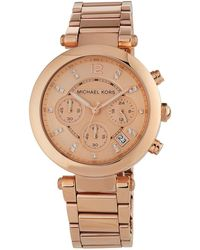 MICHAEL Michael Kors - 39mm Parker Chronograph Bracelet Watch Rose Gold - Lyst