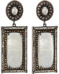 Bavna - Silver Rectangular Drop Earrings With Diamonds & Rainbow Moonstone - Lyst