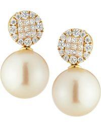 Belpearl - 18k Round Diamond & South Sea Pearl Drop Earrings - Lyst