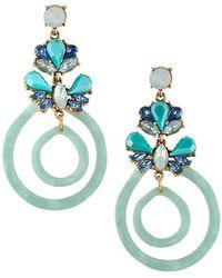 Fragments - Double Hoop-drop Earrings W/ Crystals Blue - Lyst