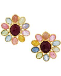 Marco Bicego - Siviglia 18k Multicolored Sapphire Flower Button Earrings - Lyst
