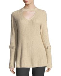 Neiman Marcus - Elbow-zip Keyhole Sweater - Lyst
