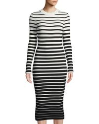 MILLY - Degrade-stripe Ribbed Bodycon Dress - Lyst