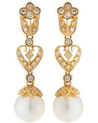 Belpearl - 14k Gold Filigree Diamond & Pearl Drop Earrings - Lyst