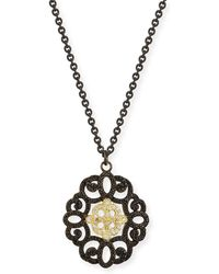 Armenta - Old World Filigree Pendant Necklace With Diamonds & Black Sapphires - Lyst