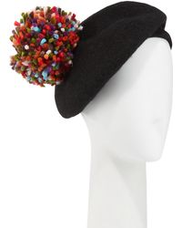 Neiman Marcus - Wool Beret W/ Multicolor Pompom - Lyst