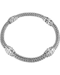 John Hardy - Bedeg Diamond-station Silver Bracelet - Lyst