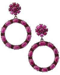 Bavna - Black Silver Open Circle Drop Earrings With Composite Ruby & Garnet - Lyst