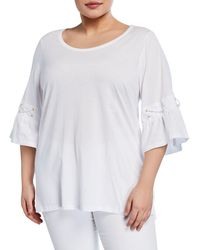a02e662a994 MICHAEL Michael Kors - Pull Size Bell Sleeve Shirt W Lace Detail - Lyst