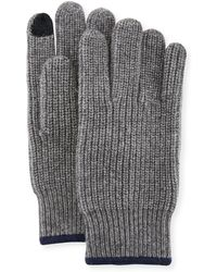 Neiman Marcus - Ribbed Knit Gloves With Touch Tech Finger Pads - Lyst