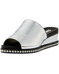 Karl Lagerfeld - Ali Metallic Wedge Mule Sandal With Pearly Detail - Lyst