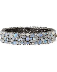 Bavna Multi-Size Rainbow Moonstone & Diamond Bangle H0Qt9kfS