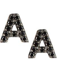KC Designs - 14k White Gold & Black Diamond Initial Single Stud Earring - Lyst