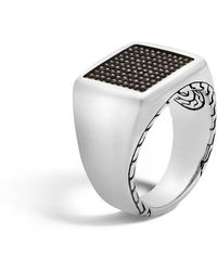 John Hardy - Men's Classic Chain Signet & Black Rhodium Ring - Lyst