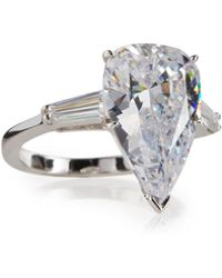 Fantasia by Deserio - Pear-cut Crystal Ring W/ Tapered Baguettes - Lyst