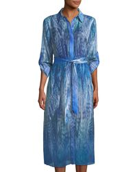 T Tahari - Collared Ombré Feather-print Dress - Lyst