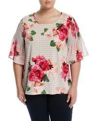 CALVIN KLEIN 205W39NYC - Smocked-sleeve Floral & Gingham Blouse - Lyst
