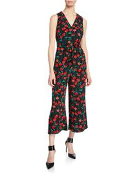 Karl Lagerfeld - Floral Cropped Jumpsuit - Lyst