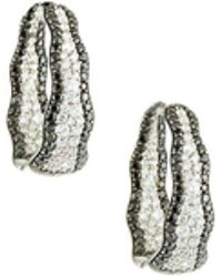 Roberto Coin - 18k Two-tone Diamond Hoop Earrings - Lyst