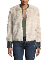 Love Token - Faux Fur Jacket W/ Vegan Leather Trim - Lyst