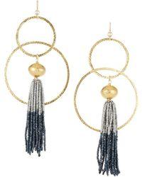 Devon Leigh - Tassel Hoop Drop Earrings - Lyst