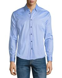 Neiman Marcus - Slim-fit Wear It Out Dotted Sport Shirt - Lyst