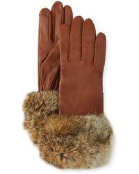 Neiman Marcus - Leather Tech Gloves W/ Fur Cuffs - Lyst