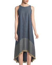 Neiman Marcus - Sleeveless High-low Chambray Dress W/ Fringe Trim - Lyst